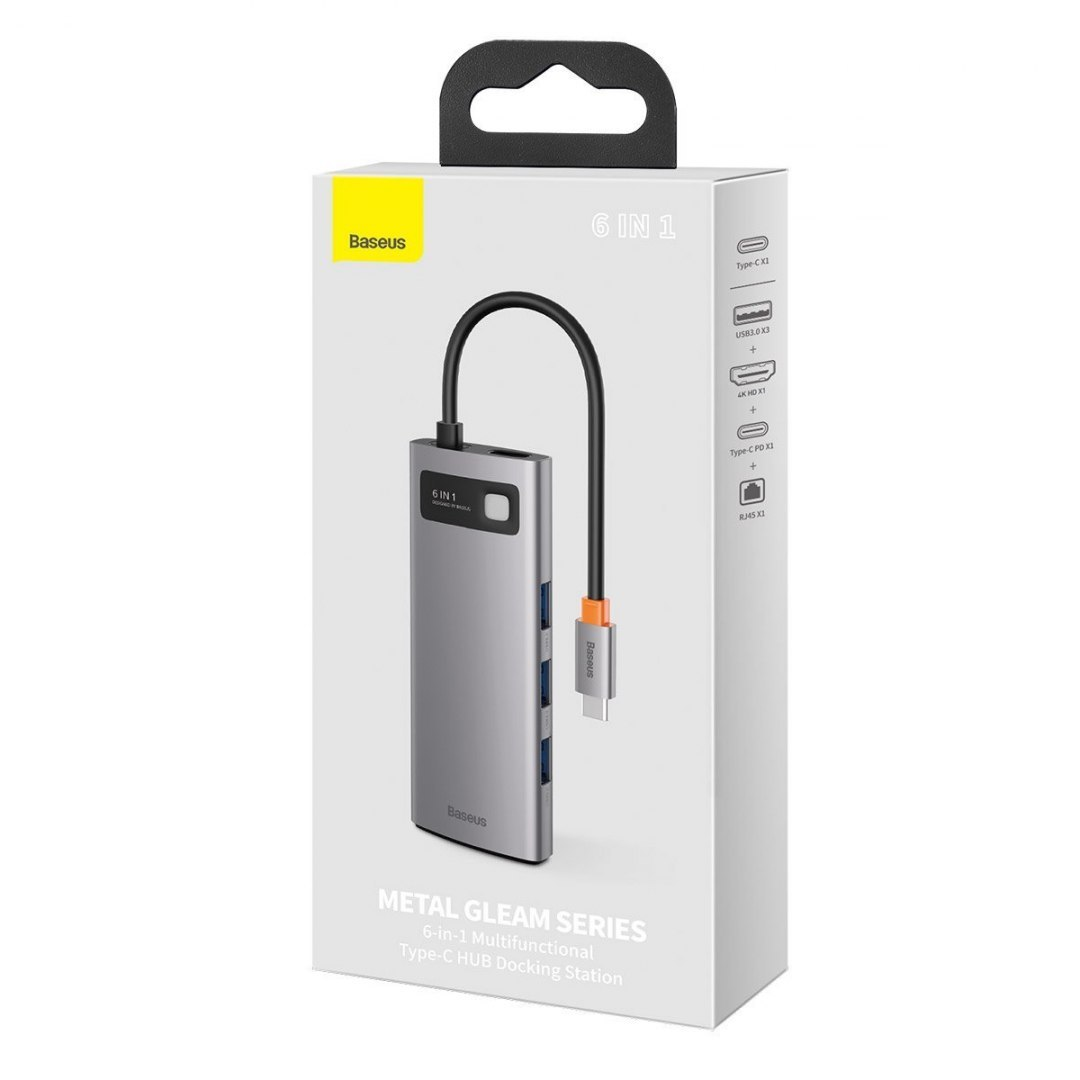 Hub 6w1 Baseus Metal Gleam Series, USB-C do 3x USB 3.0 + HDMI + USB-C PD + Ethernet RJ45